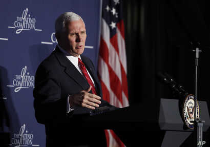 """Vice President Mike Pence speaks to the Latino Coalition's """"Make Small Business Great Again Policy Summit"""" in Washington, March 9, 2017."""