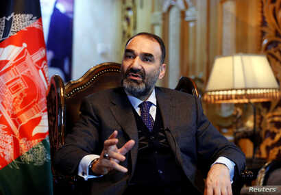 FILE - Atta Mohammad Noor, governor of Balkh province, speaks during an interview in Kabul, Afghanistan, Jan. 25, 2017.