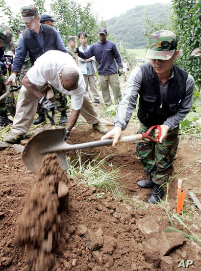 A member of South Korean, right, and U.S. recovery team dig to search for remains of U.S. soldiers killed during the 1950-53 Korean War at the Yeoncheon, north of Seoul, Aug. 11, 2006.