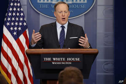 White House press secretary Sean Spicer speaks during the daily press briefing at the White House in Washington, March 23, 2017.