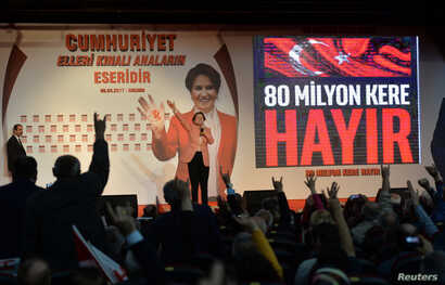 "Meral Aksener, a former interior minister, makes a speech during a ""Hayir"" (""No"") campaign meeting for the upcoming referendum in Ankara, Turkey, April 8, 2017."