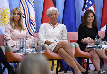 """The daughter of the U.S. president, Ivanka Trump,  IMF Managing Director Christine Lagarde and Canada's Minister of Foreign Affairs Chrystia Freeland attend the """"Women's Entrepreneurship Finance Event"""" at the G-20 Summit in Hamburg, Germany, July 8, ..."""