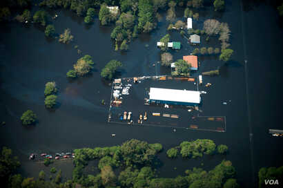 Flooding is seen in and around Wilmington, North Carolina, U.S., September 19, 2018 in this picture obtained from social media on September 21, 2018.