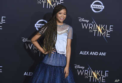 """Storm Reid arrives at the world premiere of """"A Wrinkle in Time"""" in Los Angeles, Feb. 26, 2018."""