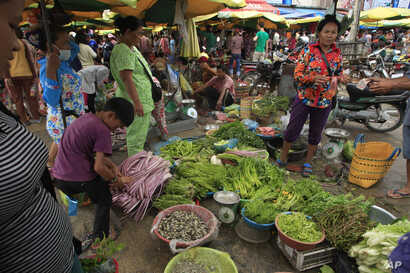 Local residents buy fresh vegetables at a morning market in Phnom Penh, Cambodia, Nov. 8, 2015. With interest accumulated over the years, Cambodia today owes the U.S. about half a billion dollars.
