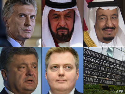 (COMBO) This combination of pictures created on April 4, 2016 shows six world leaders (top from L) Argentinian President Mauricio Macri (March 23, 2016), Emirati President Sheikh Khalifa bin Zayed al-Nahayan (April 30, 2013 in London) and Saudi King ...