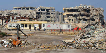 A general view taken on February 14, 2018 shows destruction in the northern Iraqi city of Mosul.