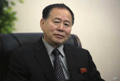 Han Song Ryol, North Korea's vice minister of foreign affairs, speaks during an interview with The Associated Press, April 14, 2017, in Pyongyang, North Korea.
