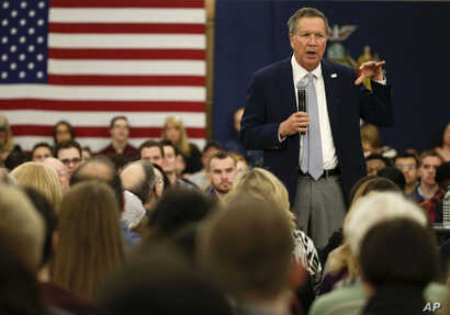 Republican presidential candidate, Ohio Gov. John Kasich speaks during a campaign stop at Hofstra University in Hempstead, New York, April 4, 2016.
