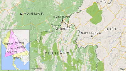 "The ""Golden Triangle"" region in Thailand, Laos and Myanmar"