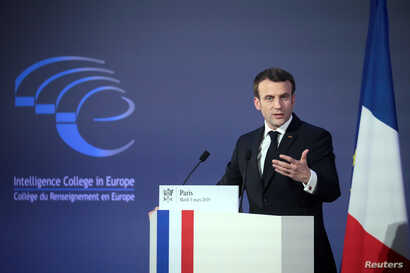 French President Emmanuel Macron delivers a speech during the closing session of the Intelligence College in Europe meeting at the Foreign Affairs Ministry in Paris, March 5, 2019.