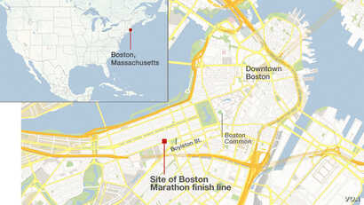 Location of the marathon finish line in Boston, Massachusetts, where two deadly explosions occurred.