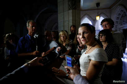 Canada's Foreign Minister Chrystia Freeland speaks to journalists about the ongoing NAFTA talks involving the United States, Mexico and Canada, on Parliament Hill in Ottawa, Ontario, Canada, Sept. 25, 2017.