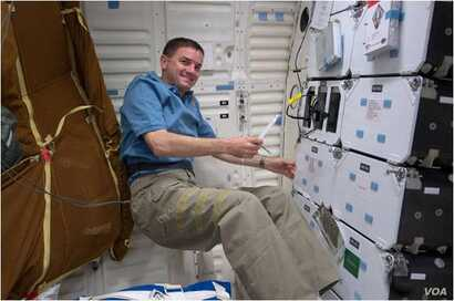 Mission specialist Rex Walheim performs checks of the Cell Culture Module aboard the US space shuttle Atlantis in 2011. (NASA)