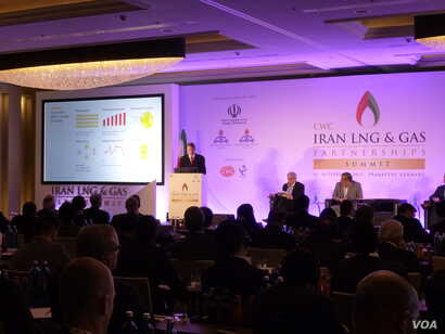 The CWC Iran LNG and Gas Partnerships Summit in Frankfurt, Germany, Feb. 15, 2017. (H. Ridgwell/VOA)