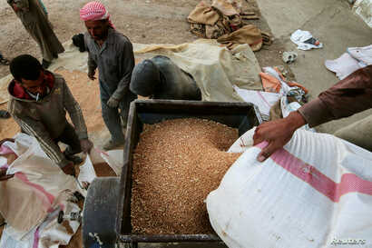 Men work in cleaning and arranging wheat for storage in Ras al-Ain, Syria, Sept. 16, 2016.