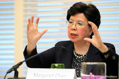 World Health Organization Director-General Margaret Chan speaks during a news conference on neglected tropical diseases in Geneva, April 18, 2017.