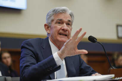 Federal Reserve Board Chair Jerome Powell speaks to members of the House Committee on Financial Services on Capitol Hill in Washington, Feb. 27, 2019.