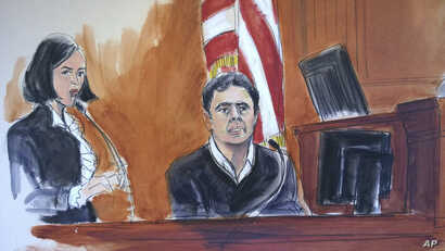 n this courtroom artist's sketch, defendant Mehmet Atilla, right, testifies during his trial on corruption charges, Friday, Dec. 15, 2017 in New York. The Turkish banker faces charges that he helped Iran evade U.S. sanctions.