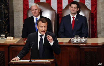French President Emmanuel Macron speaks to a joint meeting of Congress on Capitol Hill in Washington, April 25, 2018.