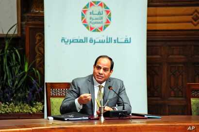 FILE - Egyptian President Abdel-Fattah el-Sissi, speaks during a live broadcast, in Cairo, Egypt, April 13, 2016. El-Sissi sought to defuse opposition started by his declaration to hand over control of two Red Sea islands to Saudi Arabia.