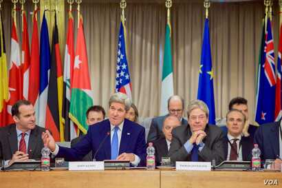 U.S. Secretary of State John Kerry delivers his opening remarks on Feb. 2, 2016, at the Italian Foreign Ministry in Rome, Italy, at the outset of a meeting of the multinational counter-ISIL coalition.