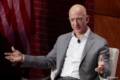 Jeff Bezos, chairman and CEO of Amazon, speaks at the George W. Bush Presidential Center's Forum on Leadership in Dallas, Texas, April 20, 2018.