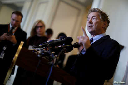 Sen. Rand Paul (R-KY) speaks at a press conference about the latest Republican effort to repeal and replace the Affordable Care Act, Sept. 25, 2017.