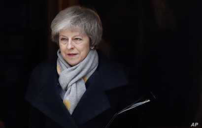 Britain's Prime Minister Theresa May leaves a cabinet meeting at Downing Street in London, Jan. 15, 2019.
