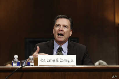 """FBI Director James Comey testifies on Capitol Hill in Washington, May 3, 2017, before the Senate Judiciary Committee hearing: """"Oversight of the Federal Bureau of Investigation."""""""