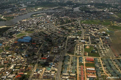 FILE - An aerial view of the oil hub city Port Harcourt in Nigeria's Delta region.