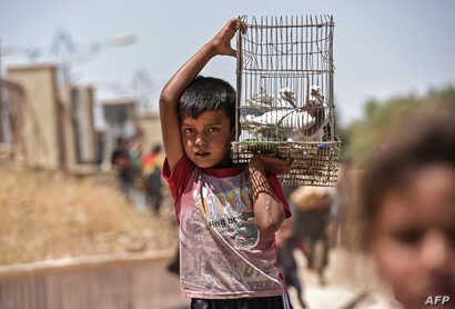 A displaced Iraqi boy carries a cage with pigeons as people arrive to a temporary camp at the compound of the closed Nineveh International Hotel in Mosul, June 16, 2017, which was recovered by Iraqi troops from Islamic State group fighters earlier in...