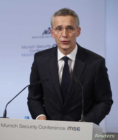 NATO Secretary General Jens Stoltenberg speaks at the Munich Security Conference in Munich, Germany, Feb. 16, 2018.
