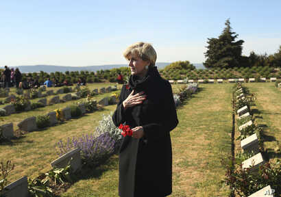 Australia's Minister for Foreign Affairs Julie Bishop, talks to fellow Australians at the Lone Pine Cemetery, in Gallipoli peninsula, Turkey, April 25, 2017.