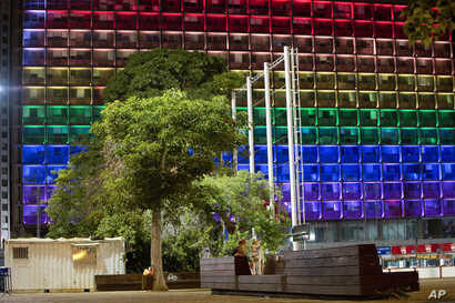 Tel-Aviv city hall lit up with rainbow flag colors in solidarity with victims of Pulse Orlando shooting, Israel, June 12, 2016.