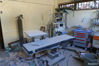 A damaged operation room is pictured after an airstrike on the rebel-held town of Atareb, in the countryside west of Aleppo, Syria, Nov. 15, 2016.