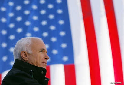 U.S. Republican presidential nominee Senator John McCain (R-AZ) speaks at a campaign rally in Defiance, Ohio October 30, 2008.