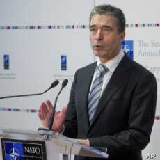 NATO Secretary General Anders Fogh Rasmussen talks during the presentation of NATO's Annual Report 2011at NATO headquarters in Brussels, January 26, 2012.