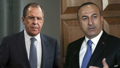 From left, Russia Foreign Minister Sergei Lavrov and Turkey Foreign Minister Mevlut Cavusoglu.