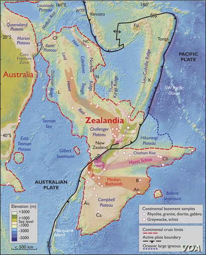 Zealandia is seen in this map from GNS.