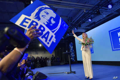 The Christian Democrats party leader Ebba Busch Thor speaks at the election party in Stockholm, Sweden, Sunday, Sept. 9, 2018.