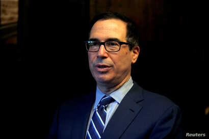 U.S. Treasury Secretary Steven Mnuchin speaks during his interview with Reuters in Jerusalem, Oct. 21, 2018.