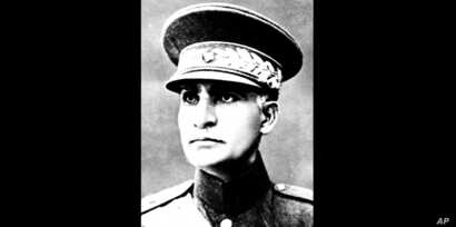 FILE- This is an undated photo of Reza Shah Pahlavi in an unidentified place. The discovery in Iran of a mummified body near the site of a former royal mausoleum has raised speculation it could be the remains of the late Reza Shah Pahlavi, founder of...