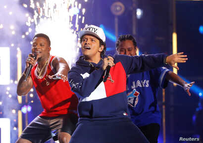 Bruno Mars performs on stage at the 2016 MTV Europe Music Awards at the Ahoy Arena in Rotterdam, Netherlands, Nov. 6, 2016.