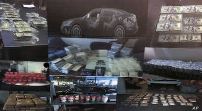 This combination image of evidence photos released Wednesday, Aug. 8, 2018, by the United States Attorney's Office shows part of narcotics and other seized materials in a federal investigation into three drug-trafficking organizations that authoritie...