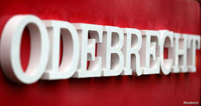 The corporate logo of the Odebrecht SA construction conglomerate is pictured at its headquarters in Sao Paulo, Brazil, Aug. 3, 2018.