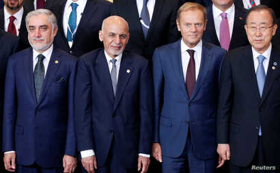Afghanistan's Chief Executive Abdullah Abdullah, President Ashraf Ghani, European Council President Donald Tusk and U.N. Secretary-General Ban Ki-moon pose for a family photo during the Brussels Conference on Afghanistan, in Belgium, Oct. 5, 2016.