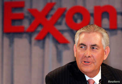 FILE -  Chairman and chief executive officer Rex W. Tillerson speaks at a news conference in Dallas, Texas.