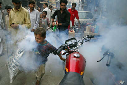 A boy tries to outrun a man fumigating for mosquitoes in an effort to combat dengue fever, on the streets of Lahore, Pakistan, September 20, 2011.