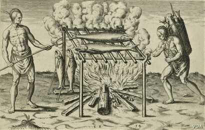 """The broiling of their fish over flame,"" an engraving by Theodor De Bry, 1590. Courtesy of the John Carter Brown Library at Brown University."